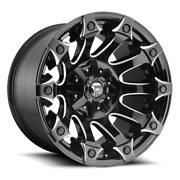 4 22x12 Fuel Black And Milled Battle Axe Wheel 5x139.7 5x150 For Jeep Toyota Gm
