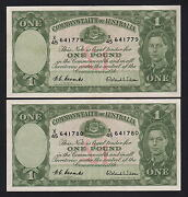 Australia R-32. 1952 One Pound - Coombs/wilson.. Ef - Consecutive Pair
