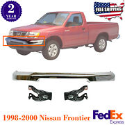 Front Bumper Chrome Steel + Mounting Brackets For 1998-2000 Nissan Frontier
