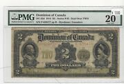 1914 Dominion Of Canada 2 Note Dc-22d Seal Over Two Ser P-639477 Pmg Vf-20