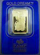 Large Pamp Suisse 24kt Yellow Gold 10 Grams Classic Lady Square Coin Bar 26916