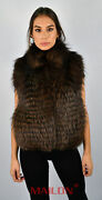 Brown Feathered Fox Fur Vest - Size Small/xs