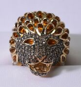 Diamond Encrusted 14kt Lion Ring Sf King Of The Beasts Statement Iced Citrine