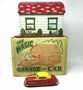 Marx Toys Magic Garage And Windup Car, With Box, Vintage