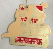 Goldtone Cut-out Metal 3 Cat Dog Humane Society Silhouette Ornament Figurine