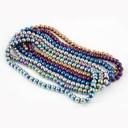 20strd Electroplate Glass Beads Strand Round For Mardi Gras Carnival Jewelry 6mm