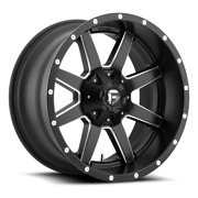 4 24x14 Fuel Black And Milled Maverick Wheel 5x139.7 5x150 For Jeep Toyota Gm