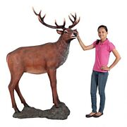 Grand Scale Buck Red Deer Stag Male W/ Base Garden Wildlife Statue Forest Yard