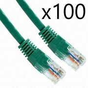 100 Pack Lot - 25ft Cat6 Ethernet Network Lan Router Patch Cable Cord Wire Green