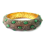 925 Sterling Silver Rose Cut Natural Diamond Emerald And Victorian Style Bracelet