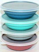 Tupperware New Usa Vintage Nesting 2cp Cereal Bowls With Seals Country Pastels
