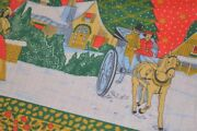 A Victorian Village Christmas And Horse Vintage German Print Large Tablecloth