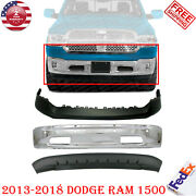 Front Steel Chrome Bumper + Upper And Lower Cover For 2013-2018 Dodge Ram 1500