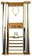 8 Cue Wall Rack With Scorers For Pool Table / Billiard Cues / Cue Sticks In Oak