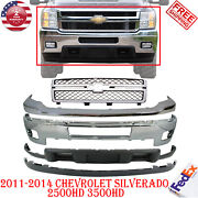 Front Bumper + Grille + Cover + Valance For 11-14 Chevy Silverado 2500hd 3500hd