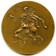 Magic Nude Ladies / Woman Getting An Electric Shock French Satirical Medal 68mm