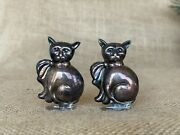 Silverplate Cat Salt And Pepper Shakers Made In Portugal