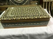 M51 Egyptian Wood Jewelry Box Inlaid Mother Of Pearl Handmade 14.4 X 9.6 Inch