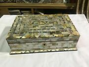 M30 Egyptian Wood Jewelry Box Inlaid Mother Of Pearl Handmade 11.2 X 7.2 Inch