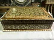 M12 Vintage Egyptian Wood Jewelry Box Inlaid Mother Of Pearl Handmade 15.2 Inch