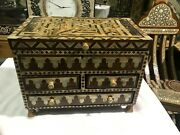 M55 Vintage Egyptian Wood Jewelry Box Inlaid Mother Of Pearl Handmade 12 Inch