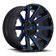 4 20x10 Fuel Gloss Black And Blue Contra Wheel 6x135 6x139.7 For Toyota Jeep