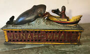 Antique19th C. Original Cast Iron Jonah And The Whale Mechanical Bank C. 1890