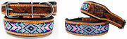 Hand Tooled Beaded Padded Leather Dog Collar 60128