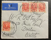 1930s Salisbury Southern Rhodesia Airmail Cover To Durham Natal South Africa