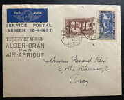 1937 Alger French Algeria First Flight Airmail Cover Ffc To Oran Air Africa