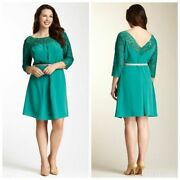 Plus Size Jessica Simpson Belted Lace Combo Dress - Nwt - Teal - Fit And Flare
