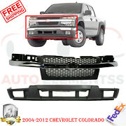 Front Grille W/ Chrome Center Bar + Lower Valance For 04-2012 Chevrolet Colorado
