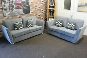 Oxford Trinity 3 And 2 Seater Sofas In A Grey Velvet Fabric 2