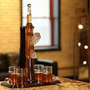 Gifts For Gun Lovers - Gun Whiskey Decanter Set. Includes Whiskey Glasses