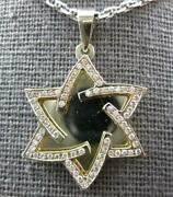 .42ct Diamond 14kt Yellow Gold 3d Double Plated Star Of David Floating Pendant