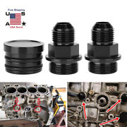 Black Block Plug Breather Fittings Kit B16 B18c Catch Can M28 To 10an For Honda