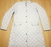 New J. Jill Down White Marble Flap Pocket Puffer Jacket Size Small