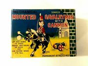 Tps Mounted Cavalry Man Vintage With Cannon, Japan, Windup Tin Toy 1960's