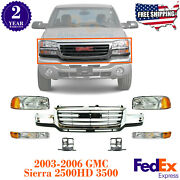 Front Grille + Head Light + Parking Lamp And Brackets For 03-06 Sierra 2500hd 3500