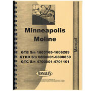 New Parts Manual Made For Minneapolis Moline Tractor Model Gtb
