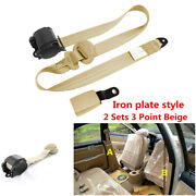 Universal 2 Sets 3 Point Car Safety Seat Belts Retractable Iron Plate Style Kit