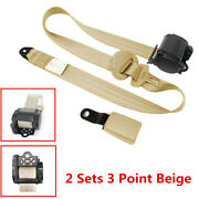 2 Sets 3 Point Retractable Car Seat Belt Safety Strap Buckle I83.ron Plate Style