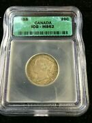 1858 Icg Graded Canadian Andcent20 Cent Ms-62re-engraved 5 Not Noted On Holder