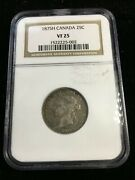 1875h Ngc Graded Canadian, ¢25 Cent, Vf-25