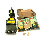Military Jeep With Cannon, Friction, Vintage 1950's, Tin, Japan
