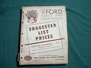 1962 Ford Parts Suggested Price List Manual For Collection. Used Book.