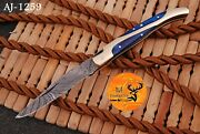 Hand Forged Damascus Steel Folding Pocket Knife With Wood And Brass Handle Aj 1259