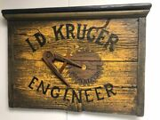 Vintage Engineer Trade Sign Made In 1965 With Working Drafting Compass