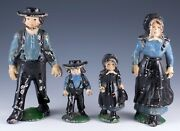 Vintage Cast Iron Metal Amish Family Of 4 Mother Father Girl And Boy Figurines