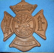 Fireman Plaque Maltese Firefighter Cross, Cast Iron Sign 7.5 X 9 Inches 89